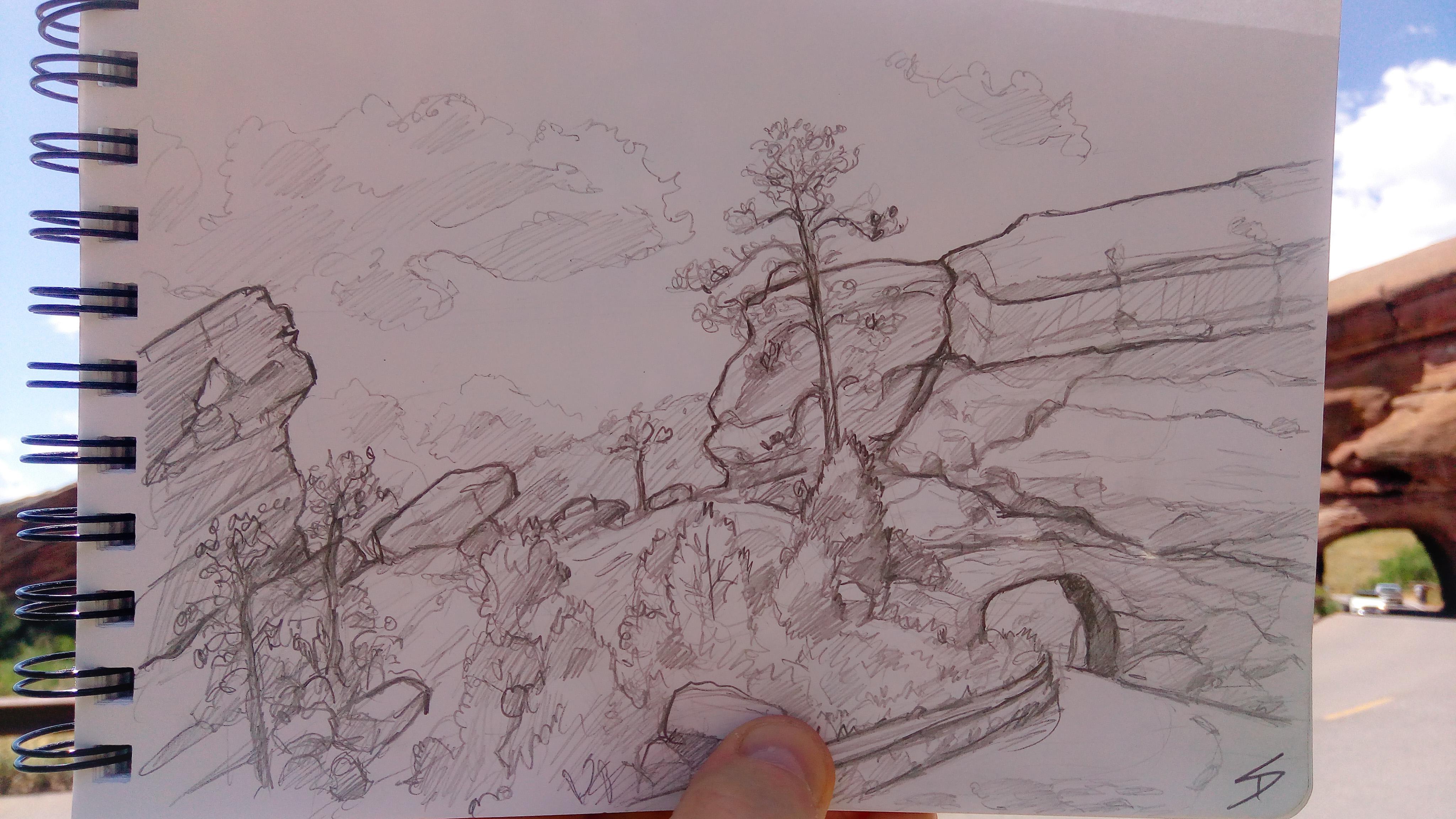Urban photo art – Morrison, Colorado, US. 'Red Rocks Park.' Artwork from my latest travel art blog article 'Wild Colorado.' Now online - sketchbookexplorer.com @davidasutton @sketchbookexplorer Facebook.com/davidanthonysutton #sketch #drawing #art #us #redrockscolorado #colorado #redrocksamphitheater #wild #travel #travelblog #unitedstates #northamerica #nature