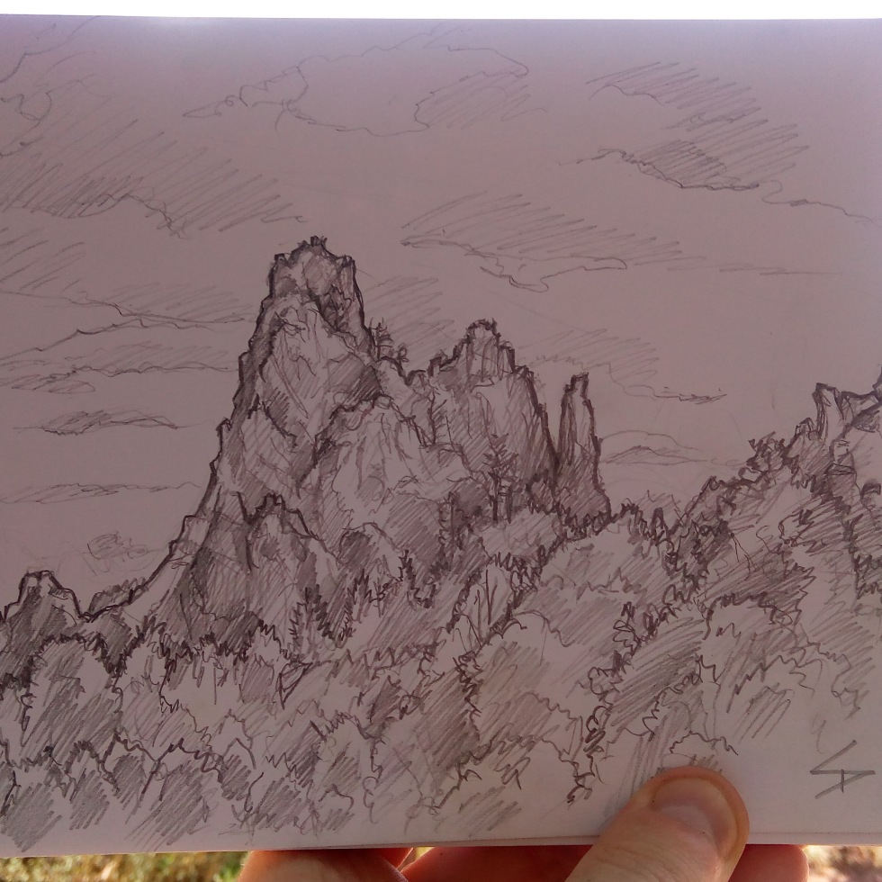 Urban photo art – Colorado Springs, Colorado, US. 'Garden of the Gods.' Artwork from my latest travel art blog article 'Wild Colorado.' Now online - sketchbookexplorer.com @davidasutton @sketchbookexplorer Facebook.com/davidanthonysutton #sketch #drawing #art #us #coloradosprings #colorado #gardenofthegods #wild #travel #travelblog #unitedstates #northamerica #nature
