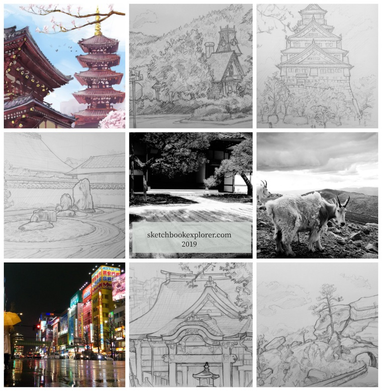 Nine images from 2019. Hard to choose just nine. What a great year. Enjoy :) #bestof2019 #best9 #travelart #travelblogger #sketch #drawing