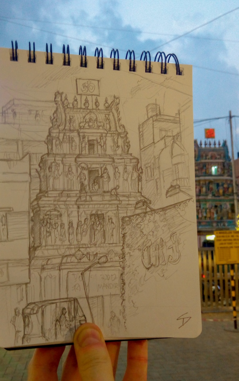 Urban photo art – Kamaraj Road, Sivanchetti Gardens, Bengaluru, India. 'Sri Vithal Rukmini Temple.'  One of many Hindu temple sat amongst the bustling streets of Bangaluru. sketchbookexplorer.com @davidasutton @sketchbookexplorer Facebook.com/davidanthonysutton #sketch #drawing #art #bangaluru #karnataka #temple #hindutemple #hindu #travel #travelblog #india