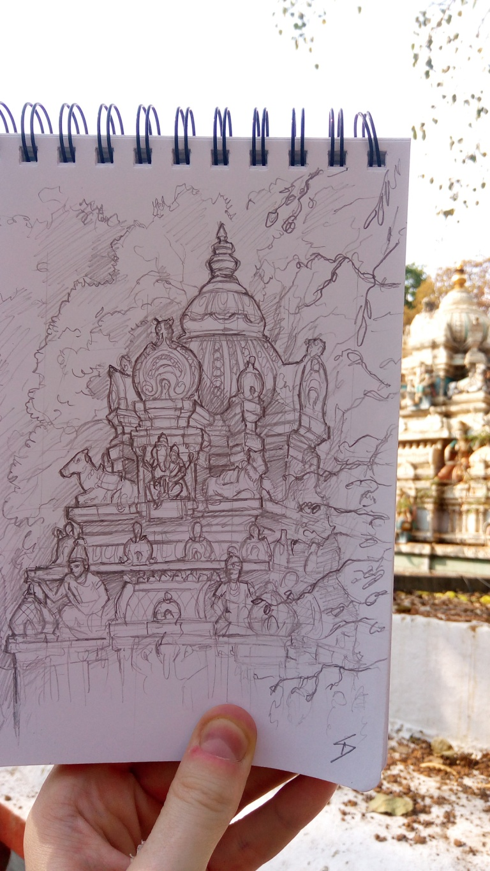 Urban photo art – Bull Temple Road, Basavanagudi, Bengaluru, Karnataka, India. 'Dodda Ganesha Temple.' Legend has it that the temple's location was chosen over 500 years ago, due to the discovery of a boulder shaped like the elephant-headed Hindu god Ganesha. sketchbookexplorer.com @davidasutton @sketchbookexplorer Facebook.com/davidanthonysutton #sketch #drawing #art #bangaluru #karnataka #temple #hindutemple #bulltemplebengaluru #hindu #travel #travelblog #india