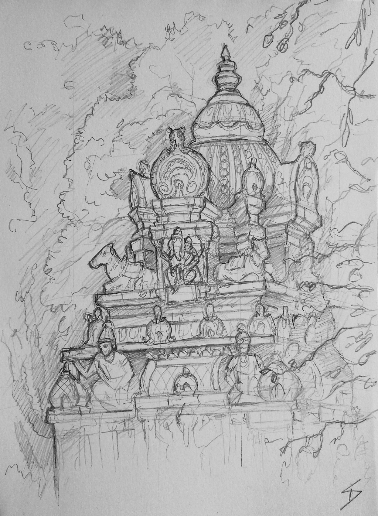 Urban art – Bull Temple Road, Basavanagudi, Bengaluru, Karnataka, India. 'Dodda Ganesha Temple.' The elephant-headed god Ganesh is, amongst other things, considered a deity patron of the arts and learning. Ganesh is also connected with new beginnings, and is often invoked before religious ceremonies and even artistic events. sketchbookexplorer.com @davidasutton @sketchbookexplorer Facebook.com/davidanthonysutton #sketch #drawing #art #bangaluru #karnataka #temple #hindutemple #bulltemplebengaluru #hindu #travel #travelblog #india