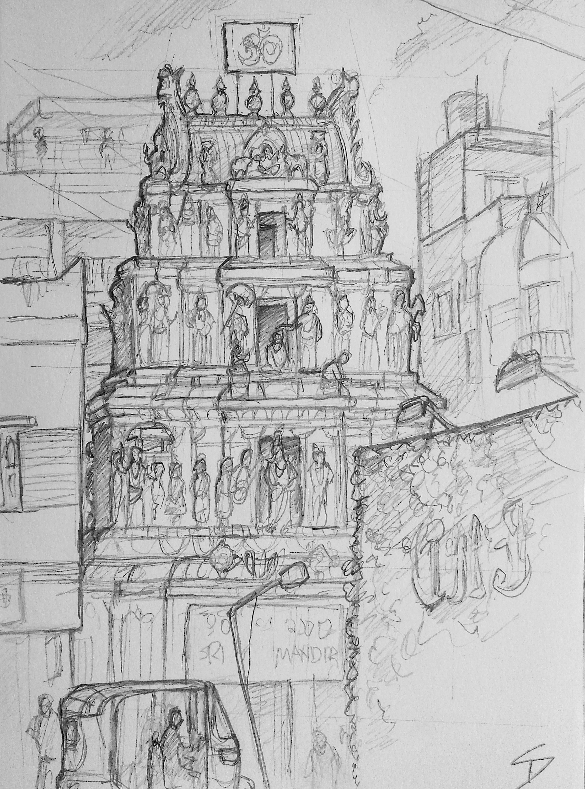 Urban art – Kamaraj Road, Sivanchetti Gardens, Bengaluru, India. 'Sri Vithal Rukmini Temple.' This Hindu temple can be found near the well known shopping district 'Commercial Street.' If you are looking for authentic Indian tailoring, you can't go wrong here. sketchbookexplorer.com @davidasutton @sketchbookexplorer Facebook.com/davidanthonysutton #sketch #drawing #art #bangaluru #karnataka #temple #hindutemple #hindu #travel #travelblog #india