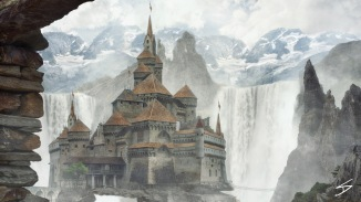 Waterfall castle Matte painting photobash