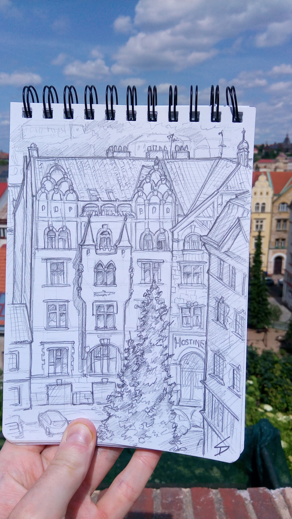 Urban art photo – Vysehrad Castle, Prague, Czech Republic. 'View of Vratislavova from the castle walls.' A stunning castle in Prague, and thankfully lesser known than its famous counterpart on the west bank of the Vltava river. sketchbookexplorer.com @davidasutton @sketchbookexplorer Facebook.com/davidanthonysutton #sketch #drawing #art #prague #vysehrad #castle #praha #travel #travelblog #czechrepublic