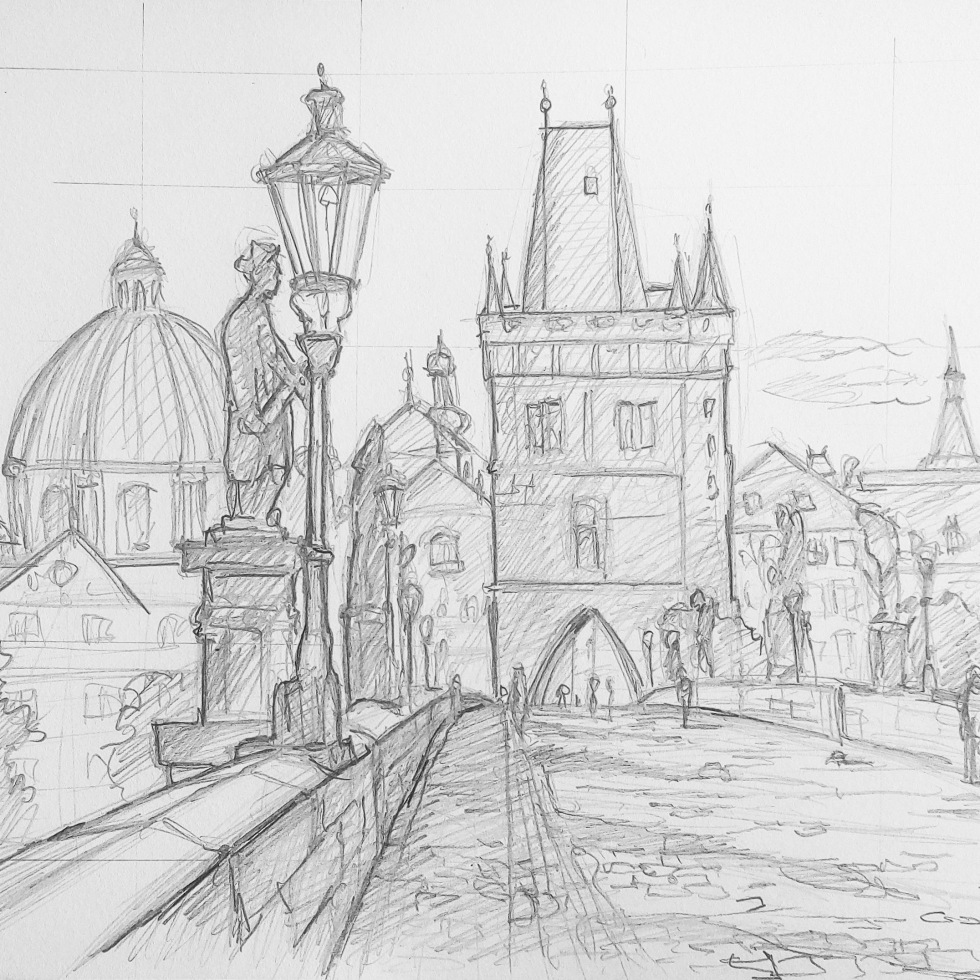 Urban art – Prague, Czech Republic. 'Charles Bridge.' Medieval bridge across the Vltava river, that is named after the Holy Roman Emperor Charles IV. sketchbookexplorer.com @davidasutton @sketchbookexplorer Facebook.com/davidanthonysutton #sketch #drawing #art #praha #prague #charlesbridge #travel #travelblog #czechrepublic