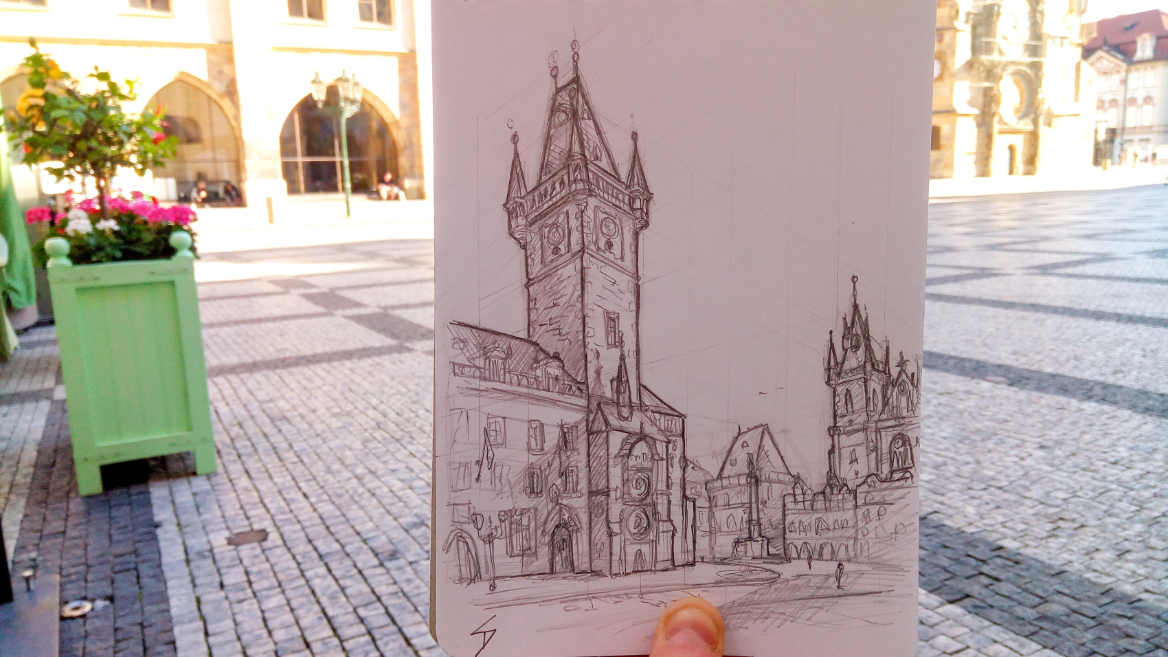 Urban photo art – Old Town Square, Prague, Czech Republic. 'View of Prague's historic Old Town Square.' Watch me sketch the drawing - https://youtu.be/PDclaI1LY40 . sketchbookexplorer.com @davidasutton @sketchbookexplorer Facebook.com/davidanthonysutton #sketch #drawing #art #prague #pragueoldtownsquare #pragueastronomicalclock #praha #travel #travelblog #czechrepublic