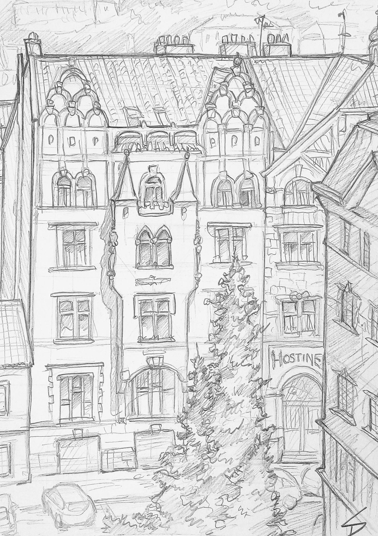 Urban art – Vysehrad Castle, Prague, Czech Republic. 'Vratislavova.' Area of Prague at the foot of Vysehrad Castle hill. sketchbookexplorer.com @davidasutton @sketchbookexplorer Facebook.com/davidanthonysutton #sketch #drawing #art #prague #vysehrad #castle #praha #travel #travelblog #czechrepublic