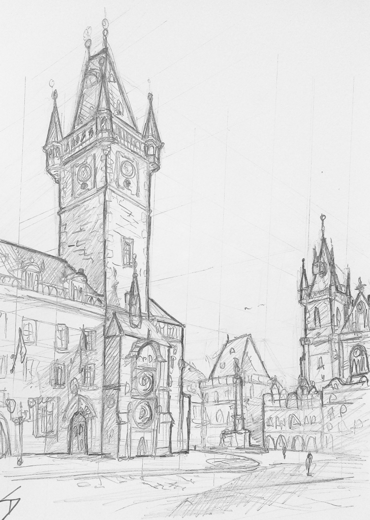 Urban art – Old Town Square, Prague, Czech Republic. 'View of Prague's historic Old Town Square.' Watch me sketch the drawing - https://youtu.be/PDclaI1LY40 . sketchbookexplorer.com @davidasutton @sketchbookexplorer Facebook.com/davidanthonysutton #sketch #drawing #art #prague #pragueoldtownsquare #pragueastronomicalclock #praha #travel #travelblog #czechrepublic