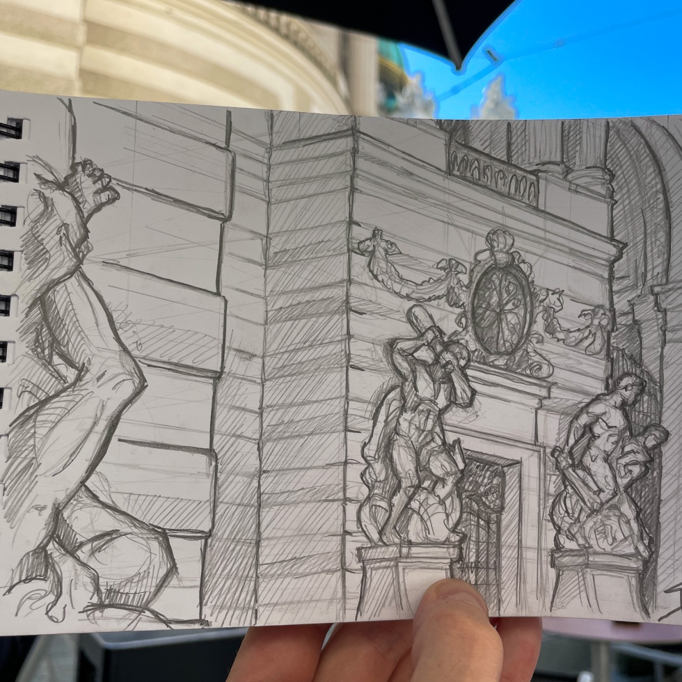 Urban photo art – Michaelerplatz, Vienna, Austria. 'View from Starbucks.' Gateway to the Hofburg Palace - once home of the Imperial Habsburg Court. Seeing it being created in my latest travel sketching video 'Five Tips for Travel Sketching - Vienna' - https://youtu.be/lki2RihiU9o . sketchbookexplorer.com #sketch #drawing #art #michaelerplatzbienna #starbucks #vienna #wien #austria #travel #travelblog #travelart